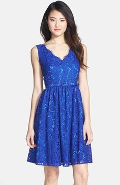 $168, Blue Lace Party Dress: Eliza J Lace Fit Flare Dress. Sold by Nordstrom. Click for more info: https://lookastic.com/women/shop_items/81608/redirect