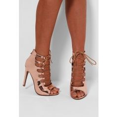 Kimberley Rose Gold Metallic Lace Up Heels