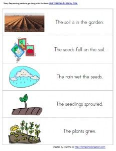 spring garden story sequencing preschool printable activity
