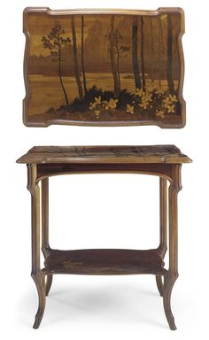 EMILE GALLÉ |  A TWO-TIERED WALNUT MARQUETRY OCCASIONAL TABLE, CIRCA 1900