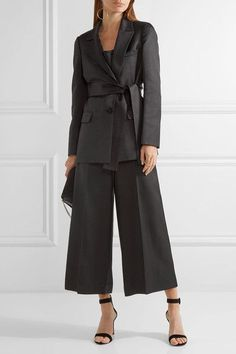 Black wool and silk-blend Concealed button, hook and zip fastening at front 75% wool, 25% silk Dry clean Made in Italy