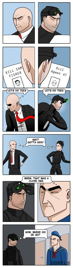 Hitman vs. Splinter Cell via Dorkly