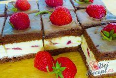 Lahodné jahodové kostky | NejRecept.cz Sweet Cookies, Cake Cookies, Crepes, Queso, Yummy Cakes, Eat Cake, Tiramisu, Nom Nom, Nutella
