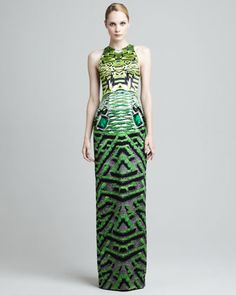 Garden-Printed Hightower Gown by Mary Katrantzou at Neiman Marcus.