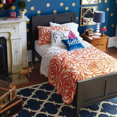 blue and orange and gold little girl's room.