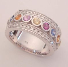 This multicolored sapphire ladies ring is one of our favorites!