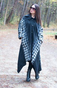 Women's Coat, Wool Coat, Jacket, Asymmetrical Black Wool Coat, Extravagant Zipper Coat by EUG FASHION by EUGfashion on Etsy