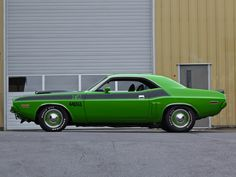 Apple Green 1971 Dodge Challenger T/A 440 Six-Pack best Mopars ever build at http://www.supercarsautos.com/