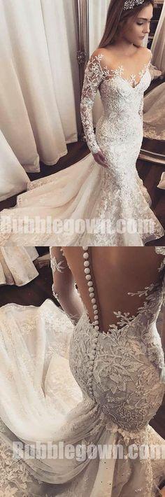 Long Sleeves Mermaid Seen Through Back Elegant Long Wedding Dresses, BGW006  #wedding #weddingdress #bride #bridedress #bridaldress #laceweddingdress #weddingdresses