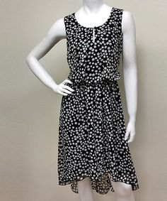 Take a look at this Voir Voir Black & Gray Polka Dot Blouson Dress on zulily today!