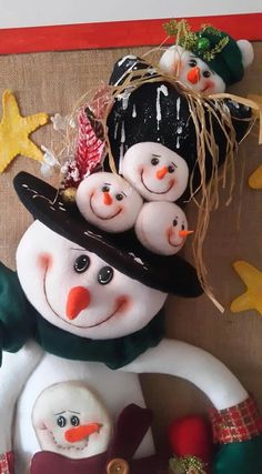Christmas Decorations, Christmas Ornaments, Holiday Decor, Softies, Snowman, Pattern, Projects, Crafts, Canada