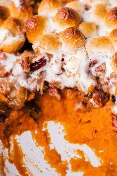 Sweet Potato Casserole is a savory recipe that finds it's way to the table during the Holidays. This simple casserole made of sweet potatoes, marshmallows, and pecans will be a decadent addition to all your side dishes this season. Sweat Potato Casserole, Best Sweet Potato Casserole, Easy Casserole Recipes, Sweet Potato Recipes, Healthy Thanksgiving Recipes, Fall Recipes, Holiday Recipes, Snack Recipes, Cooking Recipes