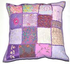"""16"""" Bohemian Pillow Cover Beaded Patchwork Throw Indian Cushion Cover Pillow"""