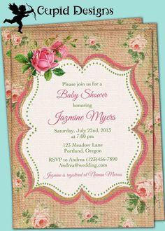 Vintage Elegant French Linen Burlap Rustic Country Roses Baby Bridal Shower Birthday invitation DIY PRINTABLE.