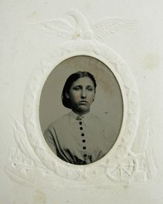 Civil War Era Tintype Photo Lovely Young Woman Patriotic Frame Cannon Flag Eagle   eBay