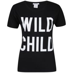 Taylor Women's 2-Pack Wild Child & Top Hat Graphic T-Shirts - Black &... ($16) ❤ liked on Polyvore