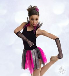 Curtain Call Costumes® - Starry Nights Contemporary dance costume with intriguing shoulder and neck ruffle.