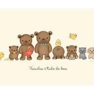 "Gravura ""Família Urso"" customizável - 21.5 x 27.9 cm"