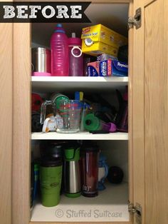 Kitchen Organization Ideas: BEFORE corner cabinet organizing of all our water bottles and coffee mugs StuffedSuitcase.com