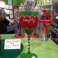 Naughty and Nice wine glasses. You can be naughty. I will be nice