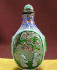 Chinese Peking Glass Snuff Bottle, Green & Blossoms, Signed