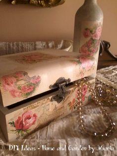 DIY Ideas - Home and Garden by Maria: Ρομαντικό Κουτί Κοσμημάτων με Χαρτοπετσέτες. About Me Blog, Diy, Bricolage, Do It Yourself, Homemade, Diys, Crafting