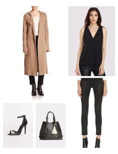 Long camel coat looks chic and is on-trend - a perfect layering option for the sleek coated jeans and double-layered Cooper & Ella top. Sandals by Schutz are sleek and contemporary, and the spacious Oliveve tote ties everything together.