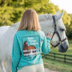 This Stirrups long sleeve tee is great for running around from the barn, to home and beyond! Made of 100% super soft cotton in a comfy and relaxed fit. Designed and printed in the USA!