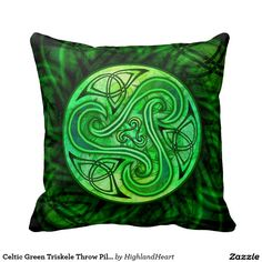 Celtic Green Triskele Throw Pillow