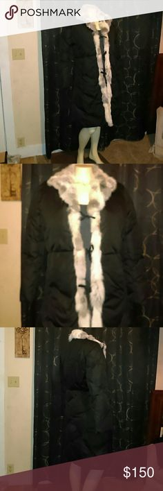 BEBE Coat Fur Trim Nylon coat by BEBE. Yes the fur is real fur!   New with tags. NO OFFERS bebe Jackets & Coats