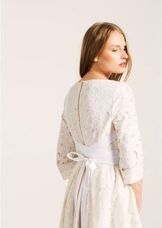f8362f7f858 Robe écrue en dentelle florale - Femme - Tara Jarmon 2