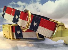 Patriotic Dog Collar with Stars and Stripes Shown by dogdazzle