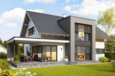 Kötz Haus - Solid brick and turnkey - Roof brick - Roof cladding Bungalow House Design, Modern House Design, House Roof, Facade House, House Facades, Brick Roof, Roof Cladding, Solid Brick, House Extensions