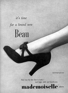 c28956be95e Mademoiselle Shoes 1951 vintage shoe design advertising