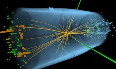 A representation of traces of a proton-proton collision in the search for the Higgs Boson Particle. Photograph: AFP/Getty Images