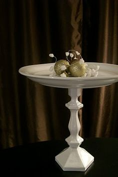 $2.00 cake stand made from a candlestick, a plate, some gorilla glue and spray pain!