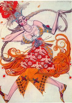 The Firebird by Leon Bakst Costume Design Stravinsky Fokine Illustration Print. $11.49, via Etsy.