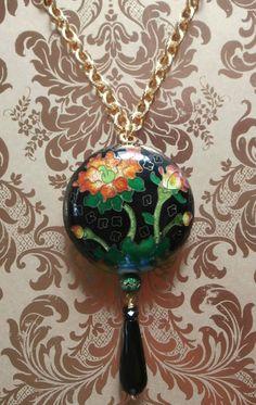 Vintage Orange Poppy Cloisonne Necklace by StarliteVintageGems, $43.00