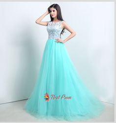 NextProm.com Offers High Quality Light Tiffany Blue Prom Dresses With White Lace Overlay Top,Priced At Only USD USD $145.00 (Free Shipping)
