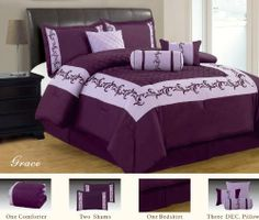 """7 Piece Luxury Faux Silk Grace Purple Comforter Set King By Royal by royal luxury linen. $69.74. king 7-Piece set includes: 1- Comforter 102""""Wx86""""L. 1- Bed skirt 78""""Wx80""""L, 2- king Pillow Shams 20""""Wx36""""L. 100% Polyester Face, Backing & Filling. Material : 100% Polyester Face, Backing & Filling.. 1- cushion 16""""x16"""", 1- breakfast pillow 12""""x16"""", 1- Neck Roll 6.5""""x16"""". Machine wash in cold water. Luxury 7-Piece Comforter Set Material : 100% Polyester Face, Backing & Filling. C..."""