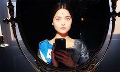 Jenna Coleman snapped a big blue-eyed selfie on the set of ITV's Victoria