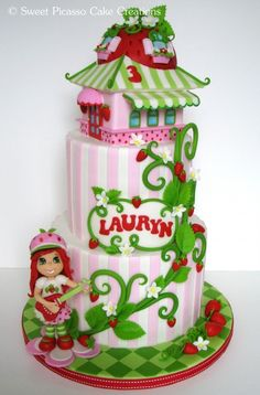 Strawberry Shortcake Cake This is for aryella's birthday! Fancy Cakes, Cute Cakes, Awesome Cakes, Fondant Cakes, Cupcake Cakes, Strawberry Shortcake Birthday Cake, Cake Paris, Character Cakes, Novelty Cakes
