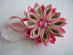 baby headband, flower baby headband, kanzashi flower by CarmelasDesigns on Etsy