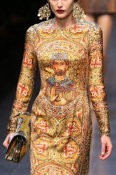 A model walks the runway at the Dolce & Gabbana fashion show as part of Milan Fashion Week Womenswear Fall/Winter 2013/14 on February 24, 20...
