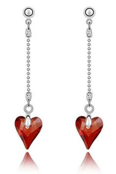 X Crystal Long Full Cut Crystal Heart Earrings In Red - perfect for valentines day!