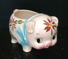 Vtg PIGGY BANK PLANTER Nancy Pew Giftware Co Japan CUTE PIG ceramic handpainted #NancyPewGiftwaresCo