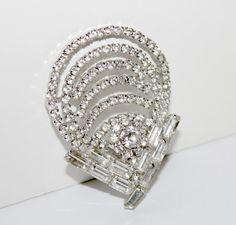 Vintage Rhinestone Brooch Art Deco Pin Clear by nanascottagehouse, $36.00