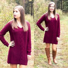 A comfy sweater dress is all we need for Fall! Get this one for $44 on www.AthenaAttire.com!