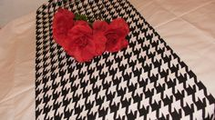 HOUNDSTOOTH RUNNER- Black and white TABLE runner Wedding Bridal Home Decor Alabama Roll Tide Parties. $19.00, via Etsy.
