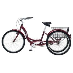 Black Cherry Single Speed Adult 3-Wheel Cruiser Bike Tricycle with Basket